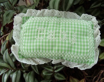 """Vintage Handmade Doll Pillow Pincushion Plushie Green and White Gingham Cross Stitch """"Baby"""""""
