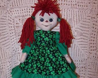 Handcrafted Primitive Folk Art Joslyn Annie St. Paddy's Day Raggedy Doll 1