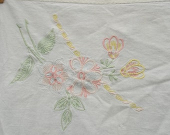 Vintage Tablecloth Embroidered Linen Tablecloth PINK Flowers Prairie Cottage Chic French Country Bridal Shower Decor Table Topper 46 x 46