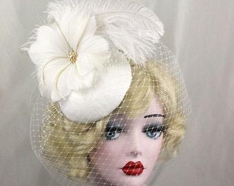 Ivory Birdcage Veil, Feather Fascinator, Bridal Hat, Feather Flower, Swarovski Crystal, Victorian Veil, Blusher Veil, Burlesque Headpiece