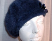 1950's Dk Blue bucket, cloche hat.  Made with Angora fur.  Size 21In  Made by Kangol Hat