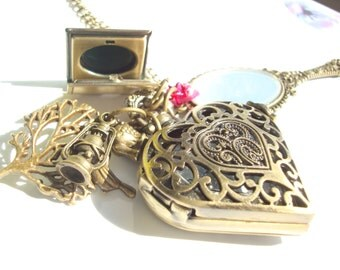 Beauty and The Beast Pocket Watch Antique Gold Mirror Locket Necklace