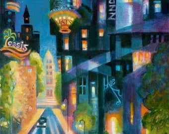 Jazz Town Art print dedicated to Bob Gillis Best of Denver CD