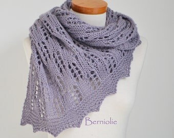 Lace knitted shawl, lavender, purple, M250