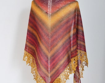 Knitted shawl with golden crochet lace trim, N277