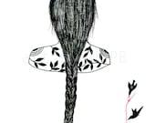 The braid. Art print. Art illustration