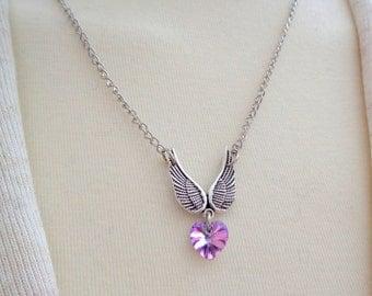 Angel Wings Necklace, Angel Wing Necklace,Angel Necklace, Wings Pendant, Grief Jewelry Swarovski Heart Necklace SALE