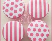 Pink Polka Knobs •  Stripe Knobs • Baby Girl Nursery • Dresser Knobs • Drawer Pulls