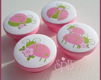 Ladybug Knobs • Pink Knobs • Garden Knobs • Drawer Pulls • Girls Knobs • Ladybug • Drawer Knobs
