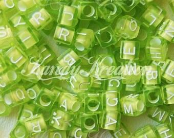 200 LIME GREEN 6mm Block Cube alphabet Alpha letter pony beads Transparent For Rave Kandi 100 pcs bracelets words name school teacher dummy