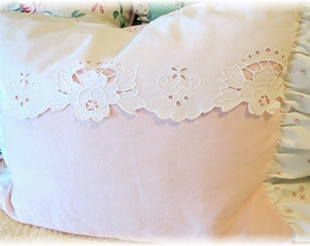 Boutique Boudoir Pillow Cover - Rachel Ashwell poplin and pink linen fabrics - vintage cutwork  -  Shabby Chic and Cottage style