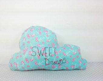 Ready to Ship - Cloud Cushion - Cloud Pillow - Sweet Dreams - Handmade Embroidered - w/ Pocket
