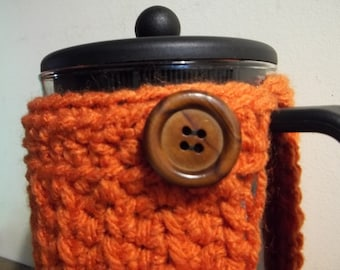 French Press Cozy Bodum Crocheted Cafetiere Cozy Burnt Orange Wood Button