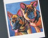 GSD GERMAN SHEPHERD Dogs Pair 8x10 Signed Art Print from Painting by Lynn Culp