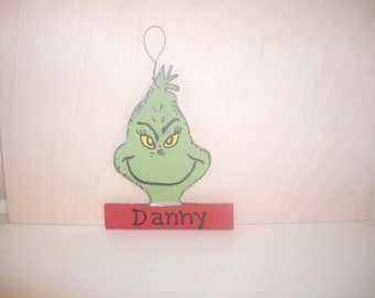 Two Grinch Christmas Ornaments - Personalized
