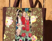 Big Tote Frida Kahlo in the Night Garden with Yellow Roses La Fete Tote