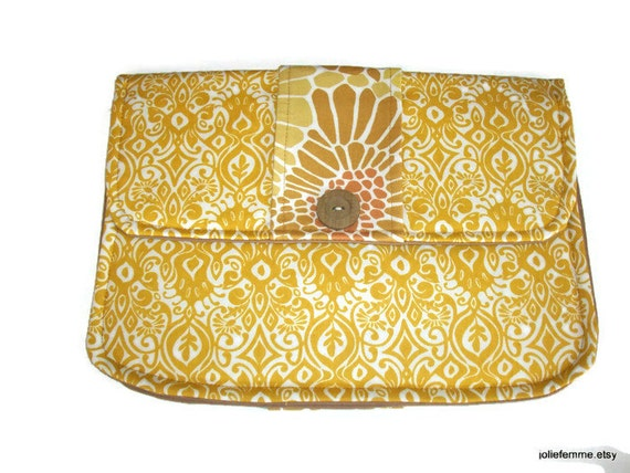 Clutch Purse Modern Golden Ikat Padded Tablet Cover