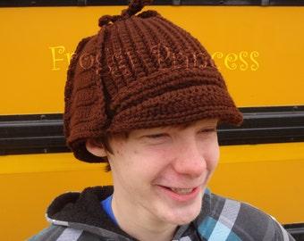 READY TO SHIP Sherlock Hat - Hand Crocheted Deer Stalker Hat