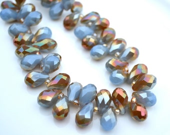Thunder BLue and Bronze 12x8mm Crystal Briolette Beads  6