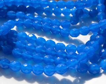 Opaque Capri Blue 8mm Faceted FIre Polish Round Czech GLass Beads   25