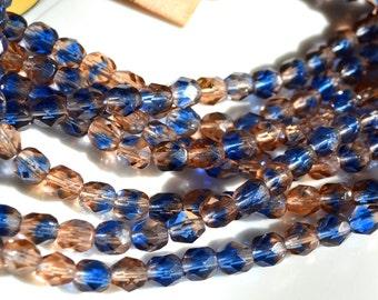 Salmon Peach and Cobalt Blue 6mm Facetd FIre Polish Round Czech GLass Beads  25