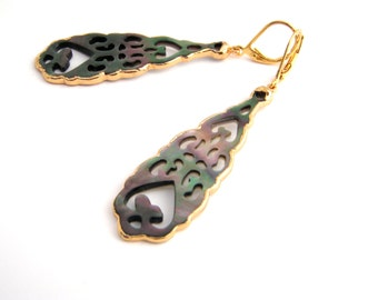 Carved Dangle Earrings, Teardrop, Mother Of Pearl, Gray, Gold, Classic, Elegant