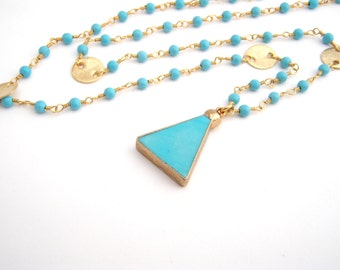 Turquoise Pendant Necklace, Rosary Style, Robin Egg Blue, Gold, Southwestern, Turquoise Jewelry, December Birthstone