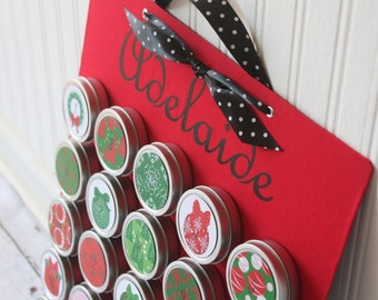 Personalized Advent Calendar with Magnet Board - Personalized Holiday decor - Christmas Decor