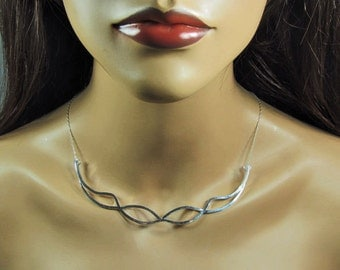 Sterling silver abstract choker, necklace, bib, minimalist, simple, statement