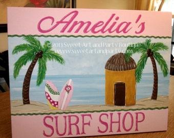 Surf Shop, canvas name sign, nursery wall art, monogram art, beach wall art, Palm tree, surfboard, Coastal nursery, Beach nursery art,