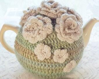 Green Striped  Crochet Cozy, Rose Crochet Tea Cozy, Morning Meadow Frost, 6 Cu[ Tea Cozy, Crochet Teapot Cozy