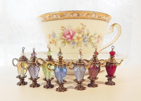 Tea cup charm tea party favor tea ball tea strainer for Teacup party favors