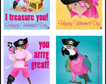 Valentines Day Cards Pirate GIRL Set 1 - kids class exchange cards DIY Printing - 9 pages treasure chest parrot Jpg & Pdf{Instant Download}