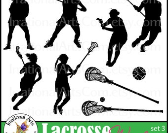 Lacrosse Players set 3 Women - digital clipart graphics 9 png files with players, sticks ball [INSTANT DOWNLOAD]