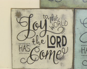 JOY TO the WORLD sign / Christmas sign / the Lord has come / hand painted sign / xmas decor / Christmas decoration / Religious Christmas