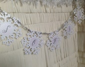 Garland - FROZEN - SNOWFLAKE -  WINTER - custom banner with choice of text - winter wedding, winter party