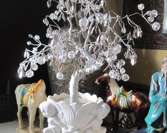 Vintage Crystal and Silver Beaded Wire Wrapped Bonsai Tree - Cherub Base - Silver Leaves