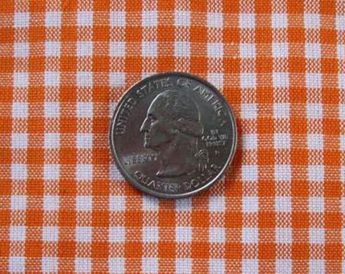 """GINGHAM CHECK 1/8"""" Orange & White 100% Cotton Fabric - by the Yard, Half Yd, Quarter Yd, FQ (16 other colors)"""