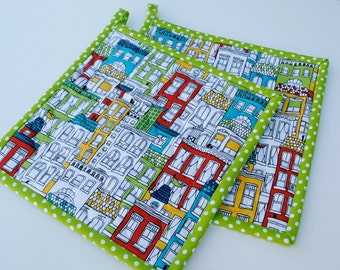 Uptown Potholders, Quilted Potholders, Fabric Potholders, Set of 2, Quilted Hotpads, Pot Holder