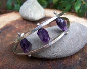 Sterling Silver and Raw Amethyst Pinned Cuff Bracelet