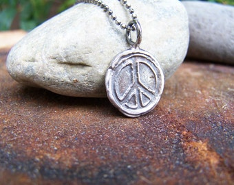 Rustic Fine Silver Peace Sign