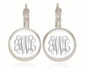 Monogram Earrings, Bridesmaid Gift, Wedding Jewelry, Personalized Earrings, Silver Monogram Earrings (Silver on White - Drop Style Earrings)