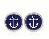 Glass Dome Earrings, Anchor Earrings, Preppy Jewelry, Preppy Gift, Nautical Gift, Gift Under 10, Gift for Her (Navy Anchor Studs)