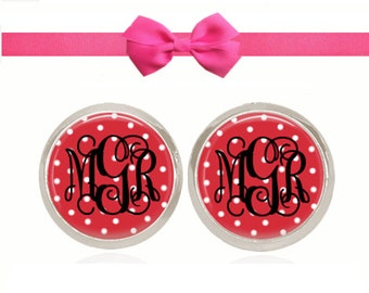 Monogram Earrings, Red Polka Dot Earrings, Stud Earrings, Monogram Jewelry, Sorority Gift, (Red Polka Dot - Stud Earrings)