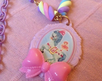 Pastel Carousel Circus Pony Oval Pendant Marshmallows Pearl Necklace