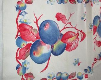 Vintage Tea Towel Kitchen Linens Red White Blue Fruit Table Runner Dish Cloth Dishcloth Printed Hand Towel Dishcloth Dish Cloth 1940's 1950s