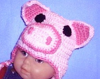 Pig Hat, Crocheted Baby Pig Hat, Crocheted Animal Hat, Toddler Piggy Hat, Crocheted Childs Hat, Pig Baby Photo Prop,