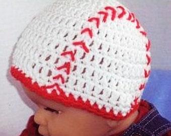 Baby Baseball Hat, Crocheted Baseball Beanie, Baby Photo Prop, Baseball Hat, Sports Hat, Toddler Baseball Hat