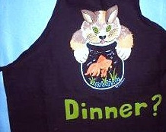 Hungry Kitty Apron - Handpainted