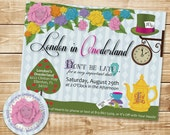 DIGITAL Alice in Wonderland Tea Party Invitation and Address Label - Colorful w Face in Flower, Teapots, Hearts